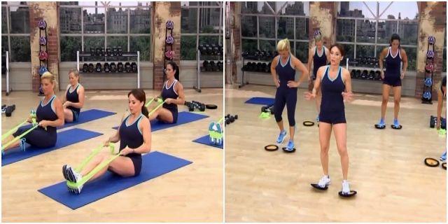 Силовая тренировка Кейт Фридрих с гантелями и лентой