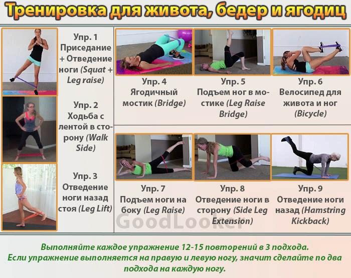Тренировка с эластичной лентой для живота, ног и ягодиц