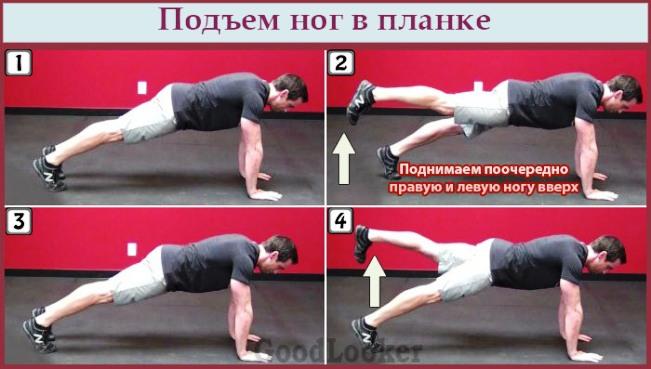 Подъем ног в планке