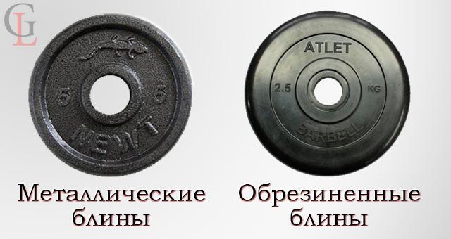 Виды дисков к гантелям