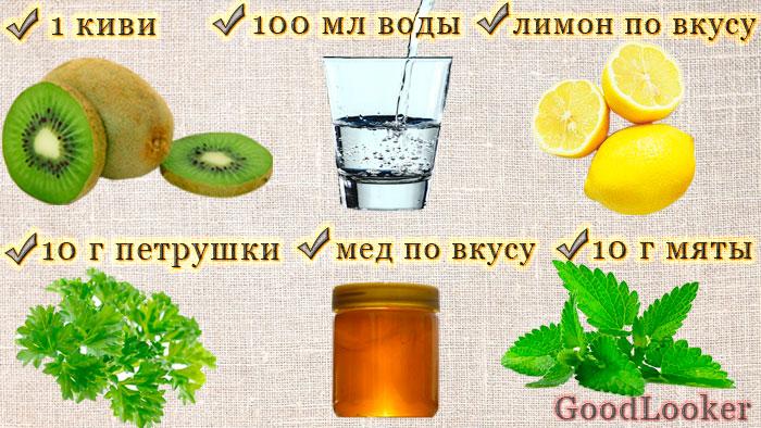 Зеленый смузи с медом и киви