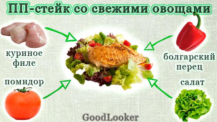 ПП-стейк со свежими овощами