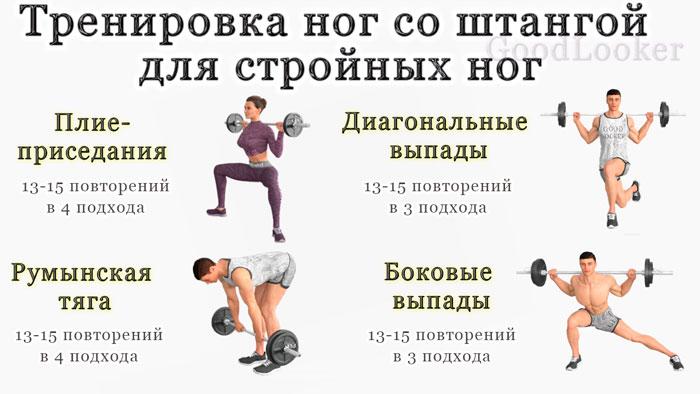 План упражнений для ног со штангой