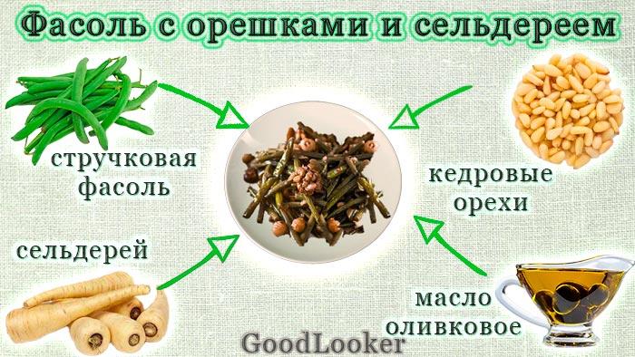 Зеленая фасоль с кедровыми орешками и сельдереем