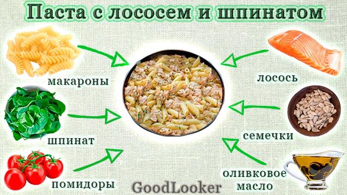 Паста с лососем и шпинатом