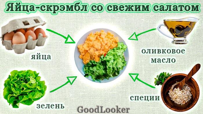 Яйца-скрэмбл со свежим салатом