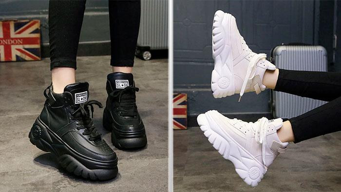 Однотонные кроссовки на массивной подошве