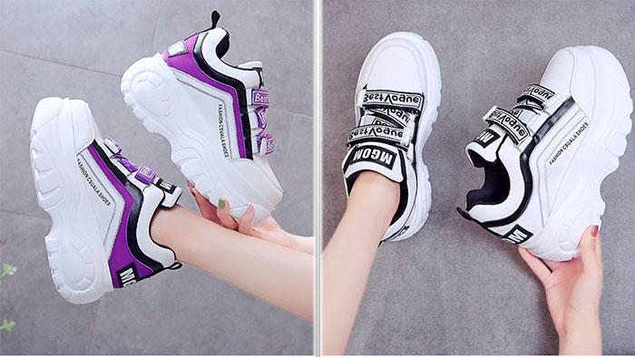 Кроссовки на липучках и массивной подошве