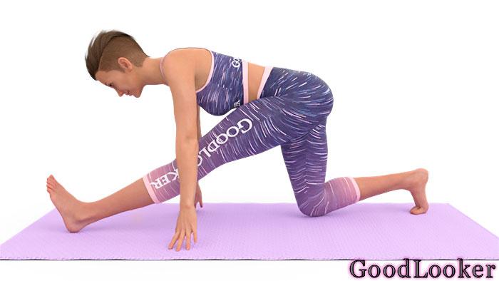 Растягивание с упором на коленоРастягивание с упором на колено