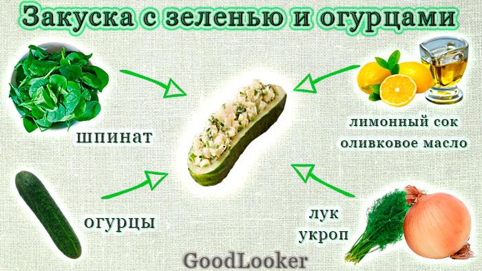Закуска с зеленью и огурцами