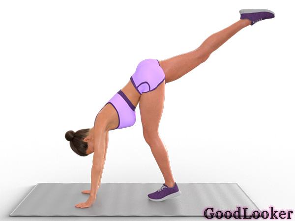 Подъем ноги с опорой на ладони и стопы