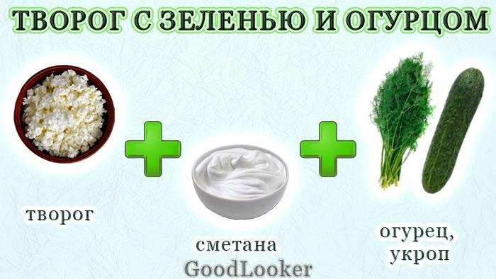 Творог с зеленью и огурцом