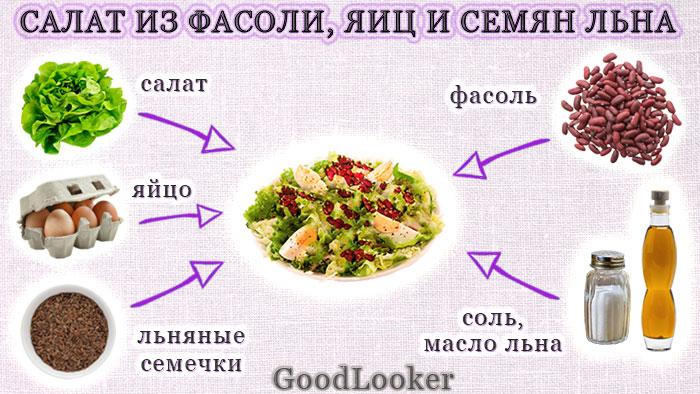 Салат из фасоли, яиц и семян льна
