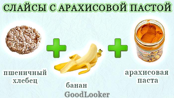 Слайсы с арахисовой пастой