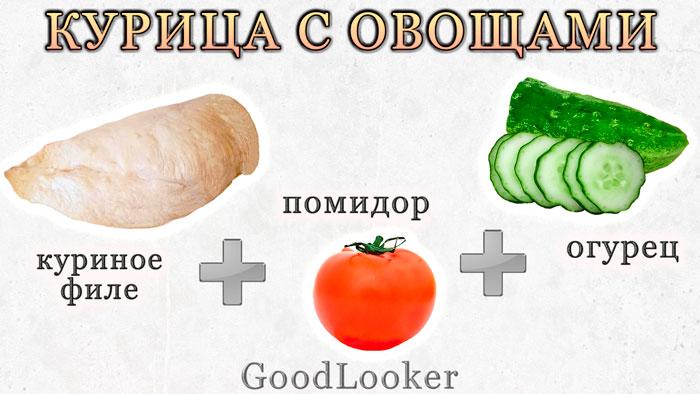 Запеченная курица со свежими овощами