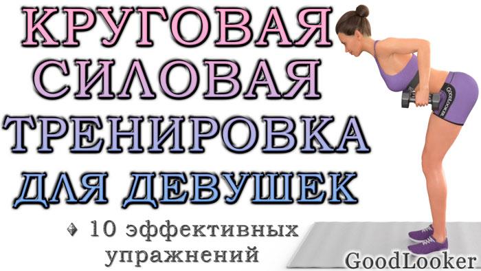 Круговая силовая фулбоди-тренировка с гантелями для начального и среднего уровня (для девушек)