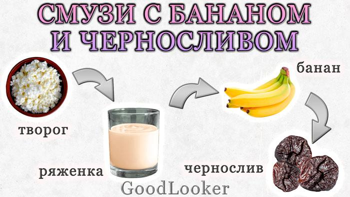 Смузи с бананом и черносливом