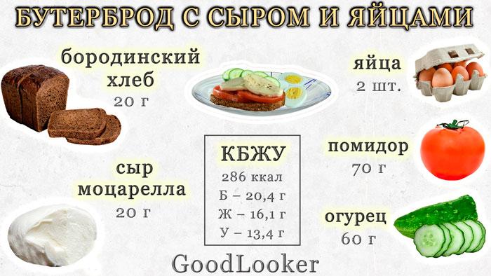 Бутерброд с сыром и овощами