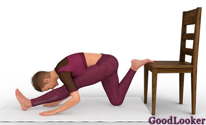 Наклон к прямой ноге с опорой на стул