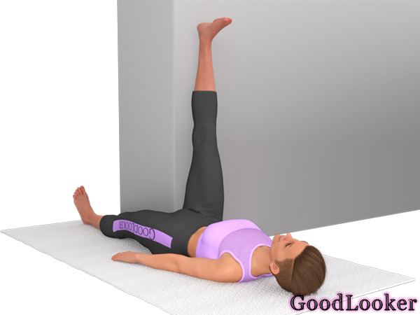 Подъем ноги на стену лежа