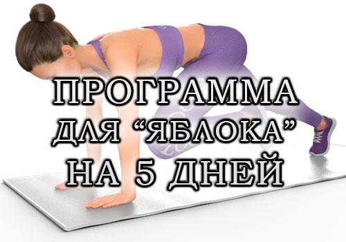 """План тренировок для типа фигуры """"яблоко"""" на 5 дней (от живота и боков)"""