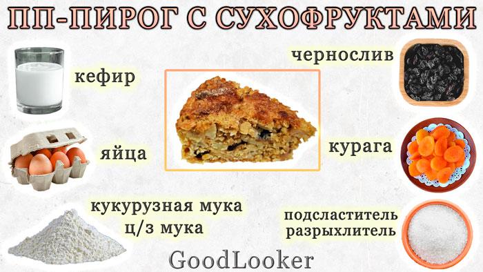 ПП-пирог с сухофруктами